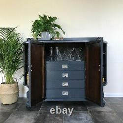 Antique Art Deco Painted Bow Fronted Drinks Cabinet / Sideboard in F&B Off Black