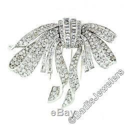 Antique Art Deco Platinum Diamond Convertible Bow Pin Brooch or Dual Dress Clip