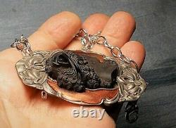 Antique Black Jet Cameo Hair Band Bow French Pate De Verre on 1917 Pewter Ename