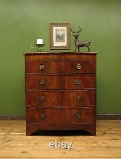 Antique Bow Front Mahogany Chest of Drawers, Country House Chest