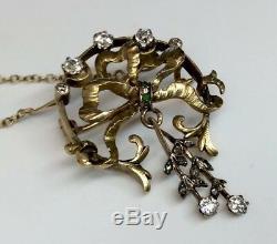 Antique Diamond Bow Tie Design Pendant/Pin Necklace 18K Yg