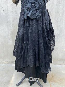 Antique Edwardian Floral Silk Lace Dress Handmade Lace Bows Gown Maxi Vintage