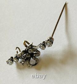 Antique Hand Made 9ct Gold Bow Brooch OVER A CARAT Of Real Diamonds
