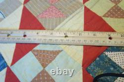 Antique Hand Stitched Feedbag Quilt 1920's Bow Tie Pennsylvania Dutch Made