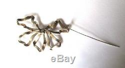 Antique Large Georgian Sterling Silver & Paste Bow Brooch/Necklace/Pin
