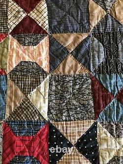 Antique Quilt Early 1900s Handmade Log Cabin Bow Diamond Squares RICH! 79x82