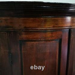 Antique Regency Mahogany Inlaid Bow Front Corner Cupboard Hanging Bathroom