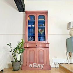 Antique Tall Display Cabinet Glass Fronted Doors Bowed Front Hand Painted Pink