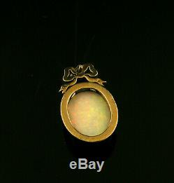 Antique Victorian 14k Gold and Silver Opal and Diamond Bow Pendant 19th Century