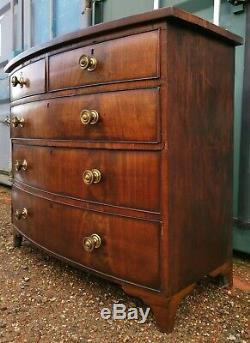 Antique Victorian Bow Fronted 5 Drawer Chest of Drawers Mahogany Rosewood