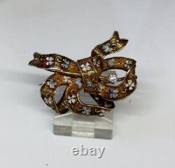 Antique Victorian Bow Pin Brooch Enamel Design Diamond Accents Solid 14K YG