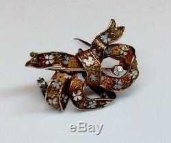 Antique Victorian Bow Pin Brooch WithEnamel Design Diamond Accents Solid 14K YG