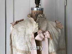 Antique Victorian Cape Shawl Clovers Floral Bow Jacquard Fringe Tassel Greek Key