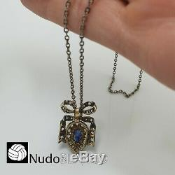 Antique Victorian Heart Bow Pendant Silver Gold 18k Sapphair Diamonds Necklace