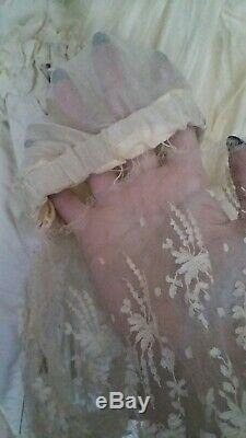 Antique Victorian Unusual Beige Front Lacing Corset Bodice With Large Bow Train