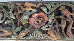 Antique Vintage Carved Exotic Panel Bow Arrow Floral Birds Goddess Bali India