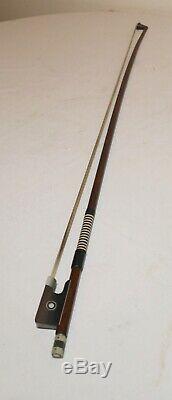 Antique handmade wood German RICHARD GEIPEL violin bow viola cello 24.5in 50g