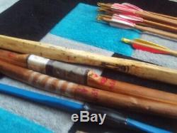 Archery Job Lot 4 x Bow 45/65 lb Wooden Handmade 24 Arrows Quiver Vintage DACO