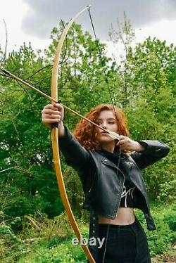 Archery Short Bow, Wooden Primitive Flatbow, Traditional Ash Self Bow 60 inch