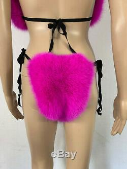 Arctic Fox Fur Bikini Two Pieces Double Sided Fur Fushia Color Panties and Top