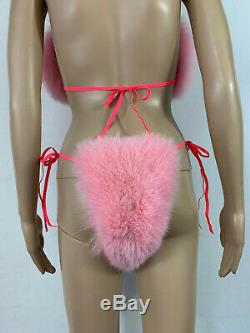 Arctic Fox Fur Bikini Two Pieces Double Sided Fur Pink Color Fur Panties and Top