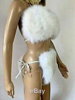 Arctic Fox Fur Bikini Two Pieces Double Sided Fur Pure White Fur Panties and Top