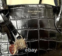 Aspinal of London London Tote Bag in Deep Shine Black SoftCroc RRP£675 +Gift Bag