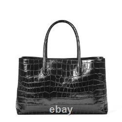 Aspinal of London tote bag -RRP£650 large/ leather deep Shine Black Soft Croc