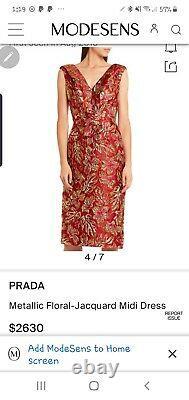 Authentic Prada Runway Dress Gold Jacquard Size 38 $3100