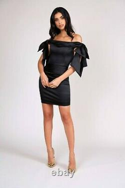 BNWT Nadine Merabi Candice Black Off Shoulder Satin Bow Cocktail Party Dress XL