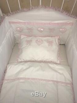 Baby Girl Luxury Handmade Cot Bedding Set 5 Piece Pink White Hearts Bows