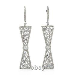 Baguette Diamond Leverback Bow Shape Earrings 18k White Gold Jewelry