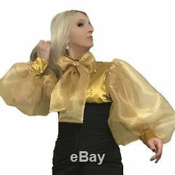 Balloon Sleeved Satin & Organza Bow Blouse