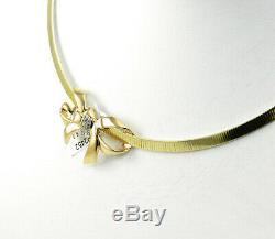 Beautiful Diamond Accented Bow Slide 14k Yellow Gold Handmade Pendant Nib # 590