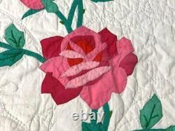 Beautiful! Vintage American Beauty Rose APPLIQUE Quilt Bows Cottage