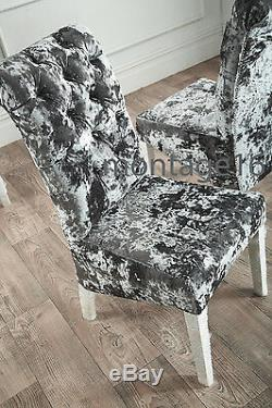 Bespoke Button Back Bow Lustro Velvet Fabric Dining Chairs