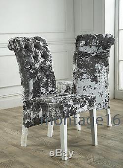 Bespoke Button Back Bow Lustro Velvet Fabric Dining Chairs / Glitter Back