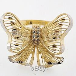 Big 14k yellow gold diamond cut butterfly ring size 5 6 7 8 9