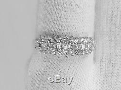 Birthday Classic Bow 14K White Gold Natural Baguette and Round Diamonds Ring