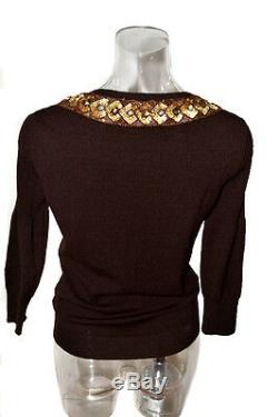 Blumarine Handmade Embroidered Beads Sequins Bow Decorated Brown Knitted Sweater