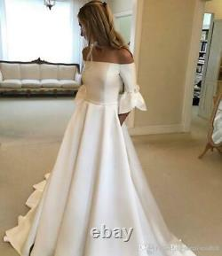 Boho Sexy White Satin Off the shoulder Bridal Gowns Plus Size Wedding Dresses