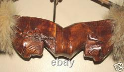 Bow & Arrow w Hand Carved Indian Head Grip Native American made Shoshone #01
