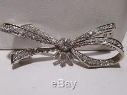Bow Design 18k White Gold 1.00 CTW Pave Set Diamonds 3 Baguette Brooch Vintage