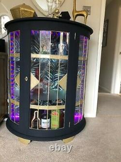Bow Fronted Cocktail Cabinet In Blue Grey With Gold Accents
