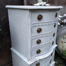 Bow Fronted Grey Gustavian Style Vintage Tallboy Bedside Table Chest of Drawers