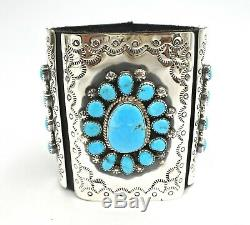 Bow Guard High Grade Kingman TurquoiseSterling Silver Navajo Handmade Leather