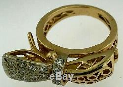Bow RingSolid 14K GoldNatural Diamonds Set (1/2 Carat)8 grams Size 5 1/2