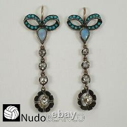 Bow Victorian Earring With Rose Cut Diamonds Tourquose And Opals 14k Gold