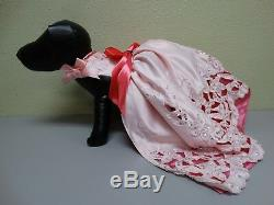 Brand New Handmade Dog Puppy Elegant Dress Long Train Pink Red Bow Floral XS
