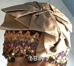 CARMELATAY hand-made haute couture sequin beanie-like hat with top bow